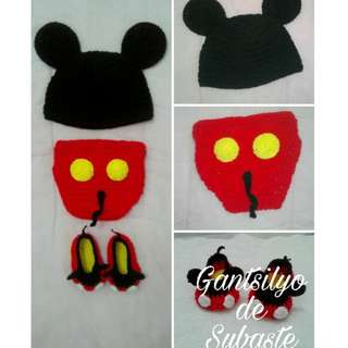 Crochet Mickey Mouse baby Set