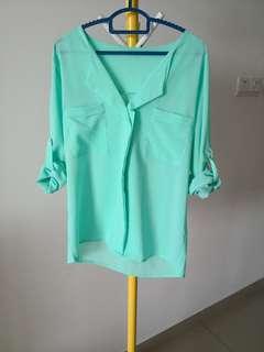 Mint Green Top twin pockets