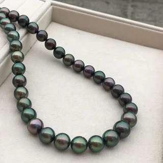孔雀綠黑珠項鍊