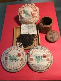 2002 年云南七子餅茶:中茶牌(省茶叶分公司)出品:高山野生大葉青餅([極品],如相片所示