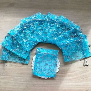 10 for $2 Floral Sky Blue Organza Bag