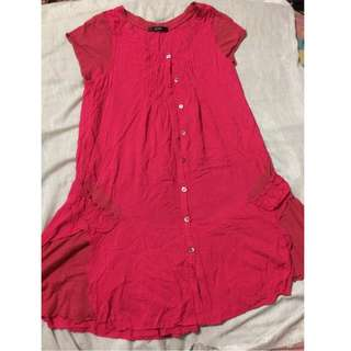 Buttoned red mini dress