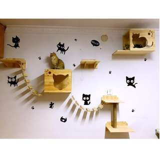 🚚 Full set pine wood cat furniture wall mount climber- 4 platforms & 2 house condo