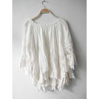 White Off Shoulder Lace Summer Blouse, size L-XL