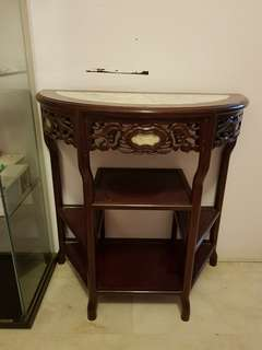 Halfmoon Faux Marble Top Accent Table