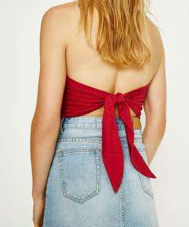 Red Crop Tie Top