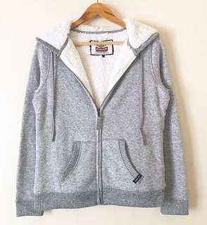 Light Gray Sherpa-Lined Sweater Hoodie