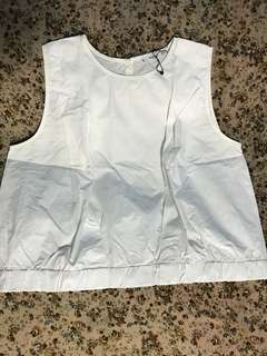 Mango White Cropped Sleeveless Top