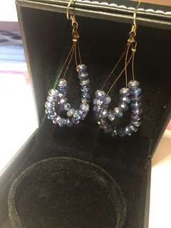 Sparkling blue earrings 閃閃藍色耳環