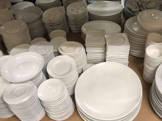 Plates, Glasses, Bowls, Cups, and Dish ware