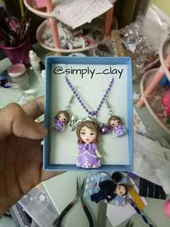 Sofia the first set of Necklace and Earrings