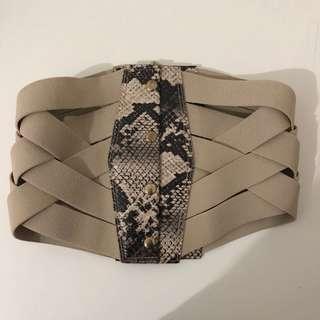 Bebe wide zipper corset belt