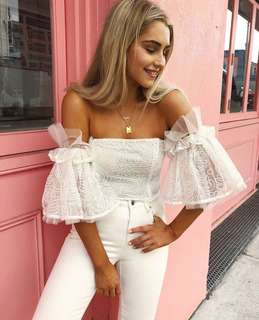 Show dance white crop off the shoulder top size 6-8