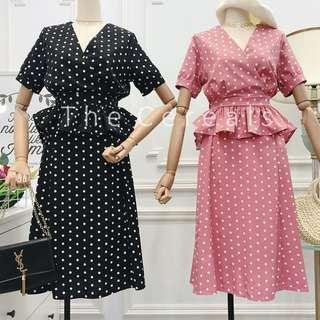 TC2465 Korea 2 Pieces Polka Dot Top + Skirt (Pink,Black)