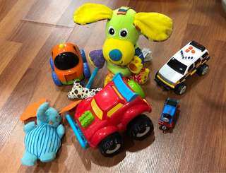Cars and soft toys
