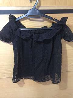 Black Lace Off Shoulder Blouse