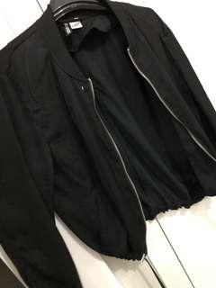 Black silk bomber jacket