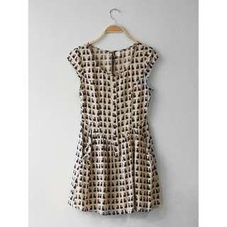 H&M Beige Buttoned Down Cat Dress, Size 34