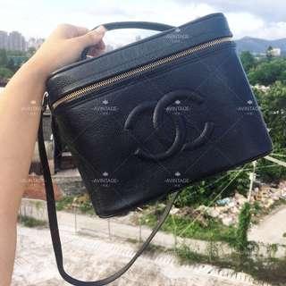 Chanel Vintage 黑色荔枝皮化妝袋