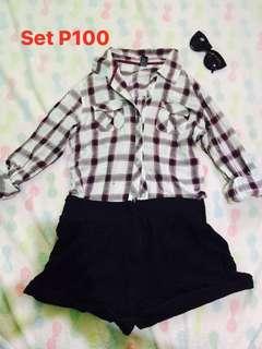 Checkered polo and black shorts set