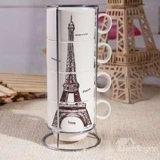 Zakka Eiffel Tower Four Pieces Set Cup with Iron Shelf Hob