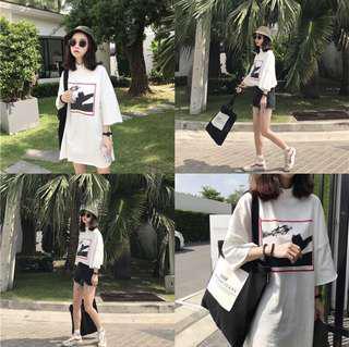 🚚 「現貨」正韓上衣 女生印花中長款上衣 短袖T恤 韓版簡約印花寬鬆顯瘦短袖T恤