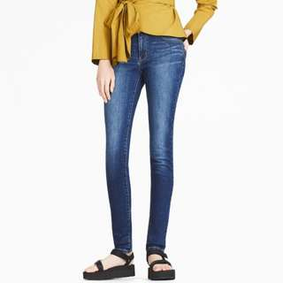 🚚 Ultra Stretch Middle-rise Tapered Skinny Jeans Blue Size 26(66cm)
