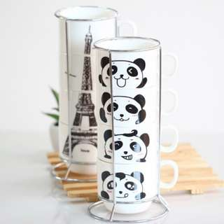 Panda style Four Pieces Set Cup with Iron Shelf Hob