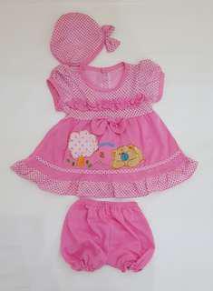 Cute set pink summer bear