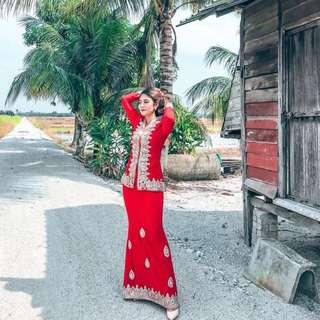 Komala Kebaya (Red Velvet)