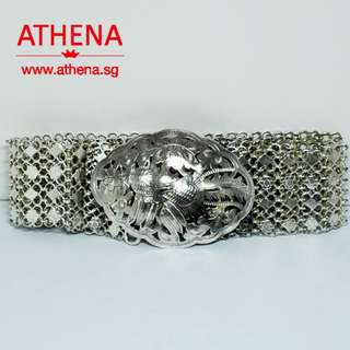 JW_OM_171 JEWELLERY 925 ANTIQUE PERANAKAN SILVER BELT 223.10G