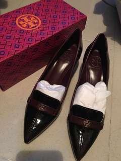 Tory Burch Wine coloured kitten heel