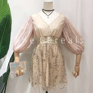 TC2470 Korea Chiffon Glitters Embroidered Crystal Dress