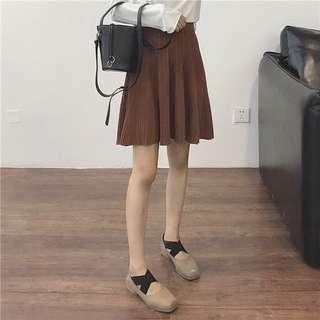 🏵復古素面百搭針織短裙 三色可選 鬆緊腰 有彈性 百摺短裙 可搭褲襪