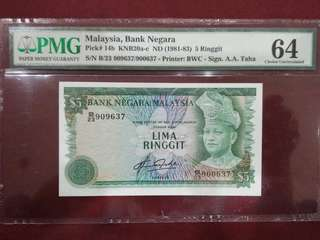Malaysia 4th Series 1981-1983 $5 Signed by Tan Sri Dato Aziz Taha( Mismatched Serial Number) PMG 64 Choice Uncirculated