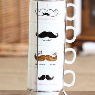 Moustache Four Pieces Set Cup with Iron Shelf Hob