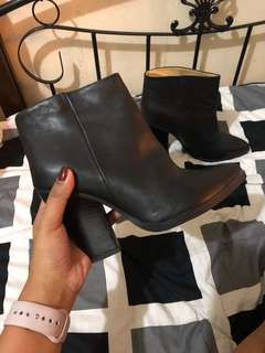 HM Black Leather High Top Boots Women