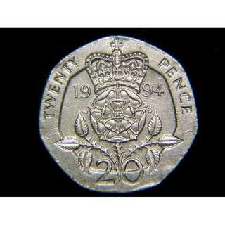 1994年英國(Britain)皇冠大玫瑰國花20便士(Pence)鎳幣(英女皇伊莉莎伯二世像)