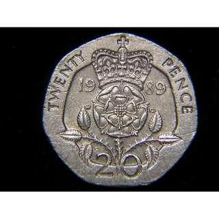 1989年英國(Britain)皇冠大玫瑰國花20便士(Pence)鎳幣(英女皇伊莉莎伯二世像)