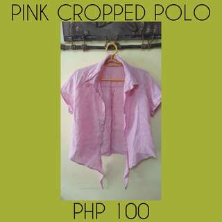 Pink  cropped polo in good condion 💯