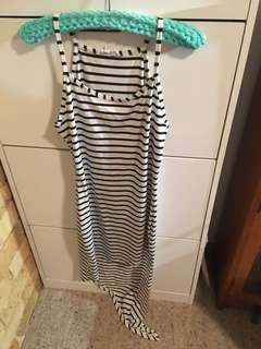 Black and white strapy a line dress