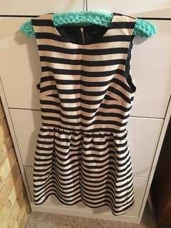 Black and white striped dress size 8