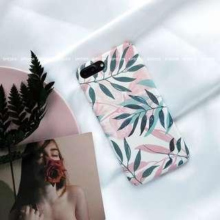 iPhone 清新粉紅花綠葉全包硬Case軟case