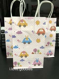 Animal cars Kraft bag, goodie bag packages, paper bag for party