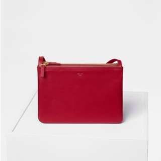 Celine Trio bag in red big size