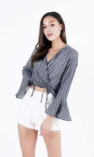 🚚 LOVET Stripe Kimono Tie-String Wrap Top in Black