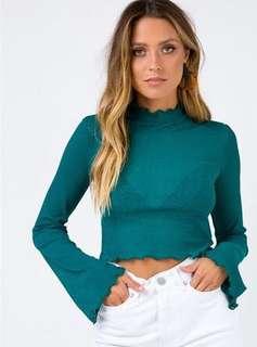 TWIIN the label emerald green sheer bell sleeve top