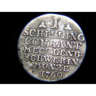 1769年梅克倫堡-士美林大公國費迪力克大公王徽1先令銀幣