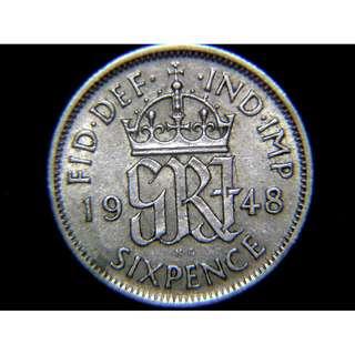 1948年大英帝國(Great Britain)英皇佐治六世徽6便士(Pence)鎳幣(英皇佐治六世像)