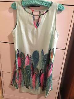 Green dress key hole at top and back, peacock print size small